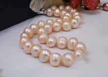 noble women gift Jewelry Silver Clasp 17INCH Natural AAA real pearl necklaces Light Pink Natural pearl AAA 10-11mm +