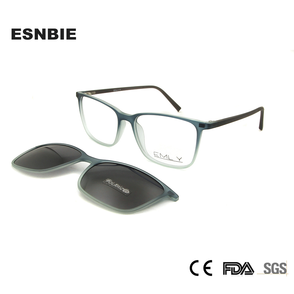 ESNBIE Ultralight Men TR90 Eyeglasses Frame Magnetic Clip Sunglasses Women Polarized Designer Nerd Glasses Frames Eye Glasses