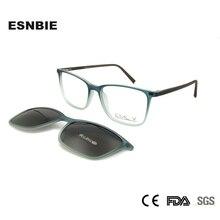 ESNBIE Ultralight Men TR90 Eyeglasses Frame Magnetic Clip Sunglasses Women Polarized Designer Nerd Glasses Frames Eye