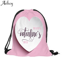 28cfb7ce6cb5 (Ship from US) Aelicy Cotton Fabric Valentine s Day Drawstring Bag 2019 New  Design Letter Korean Fashion Backpack Schoolbag For Girls Rucksack