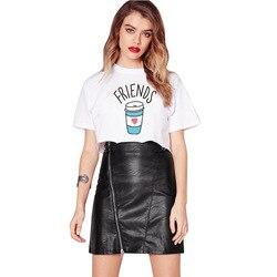 CWLSP Summer Tshirt Women Cropped Top Plus Size Best Friends SistersT-Shirt Donuts Milk Print camisas femininas XS-4XL QA1400 3