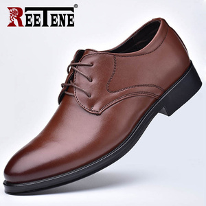 Image 3 - REETENE New Men Leather Shoes Business MenS Dress Shoes Fashion Casual Wedding Shoes Comfortable Pointed Solid Color Men Shoes