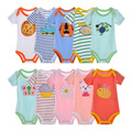 5 Pieces Summer Baby Bodysuits DANROL Short Sleeved Boys Girls Clothing Triangle Newborn Bodysuits Cotton Striped 3-24M V20
