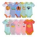5 peças do bebê verão bodysuits danrol triângulo de manga curta meninos meninas clothing bodysuits recém-nascidos de algodão listrado 3-24 m v20