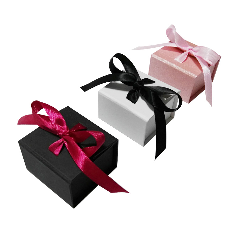 Wholesale 80pcs/lot free shipping White Ring Box with butterfly ribbon 50*50*35mm Earring Paper Box Black box for Ring Pink Box