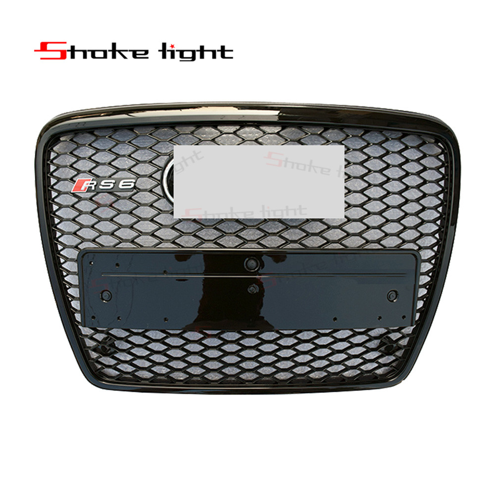 RS6 Style Black Painted ABS Honey Styling Front Mesh Grill Grille For Audi A6 S6 RS6 S-line 2009-2012