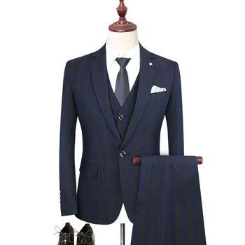 Men's suit men's striped suit three-piece suit (jacket + pants + vest) men's business casual suit formal banquet dress