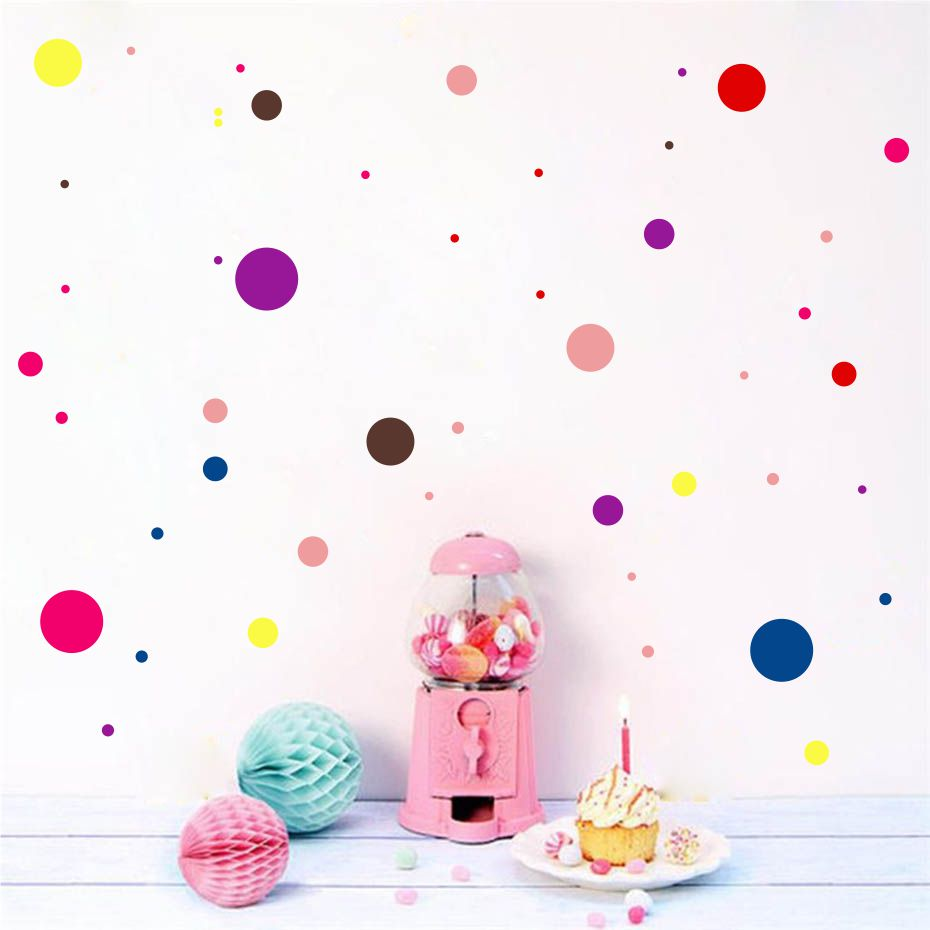 Us 1 64 25 Off Color Polka Dot Wall Sticker For Kid Bedroom Wall Art Decal Baby Nursery Room Removable Wallpaper Home Decor Vinyl Self Adhesive In