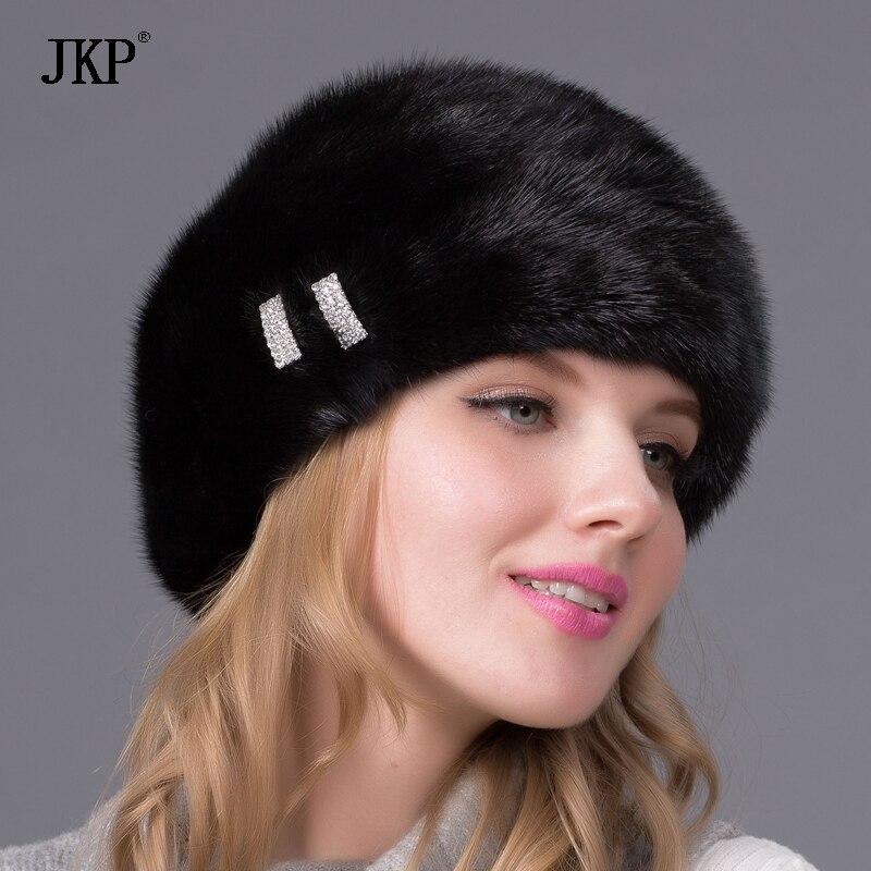 Hiver femmes Réel de fourrure de vison chapeaux pour bonnet de fourrure avec diamant nouvelle mode fourrure de vison béret Russie bonne qualité élégant chapeau