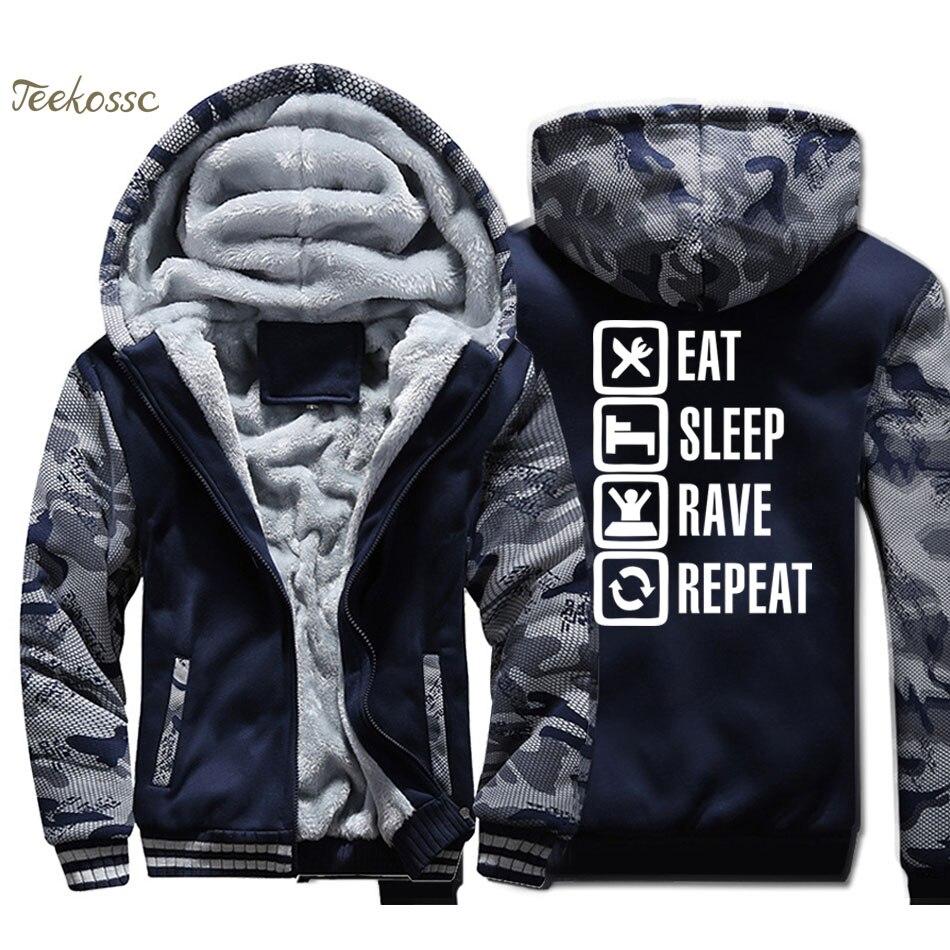 Eat Sleep Rave Repeat Hoodie Men Funny Hooded Sweatshirt twitch Coat Winter Thick Fleece Warm Jacket Twitch Birthday Streetwear