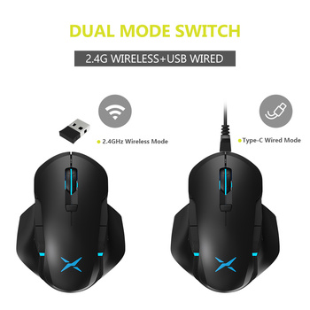 Delux M627 PMW3389 Sensor Wired + Wireless RGB Gaming Mouse 16000 DPI 8 Buttons Left and Right hand Mice With DIY Side Wings 2