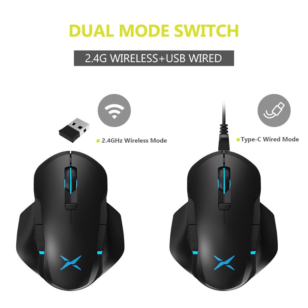 מחשבי וברזי השקיה Delux M627 PMW3389 חיישן Wired + אלחוטי RGB Gaming Mouse 16,000 DPI 8 שמאלה ולאחר עכברים ביד ימין עם כנפיים סייד DIY (2)