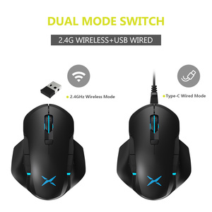 Image 2 - Delux M627 PMW3389 Sensor Wired + Wireless RGB Gaming Mouse 16000 DPI 8 Buttons Left and Right hand Mice With DIY Side Wings