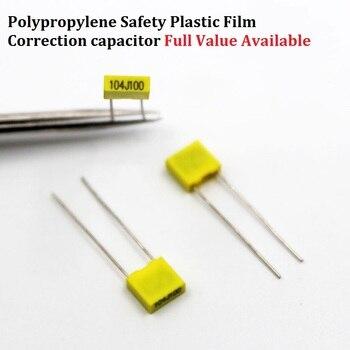 Condensador de corrección de película de polipropileno de 20 piezas, 100V 102J/152J/222J/332J/472J/682/103J/123J100V 0./1/1.5/2.2/3.3/4.7/6.8/10/12NF/UF