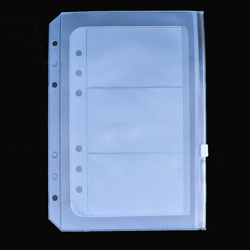 3PCS A5 A6 PVC Presentation Binder Folder Zipper Receive Bag Concise Planner Spiral Filing Products Holder Bag