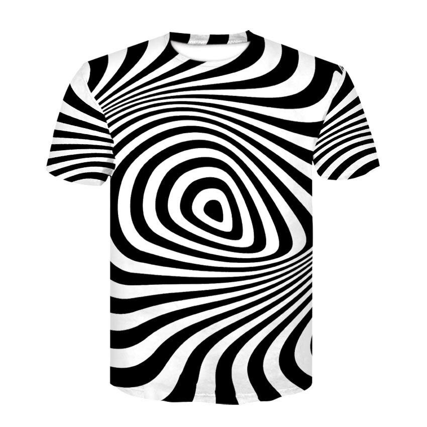 TL5 Schwarz Und Weiß Vertigo Hypnotischen Druck T Shirt Unisxe Lustige Kurze T-stücke Männer/frauen Tops männer 3D T-shirt