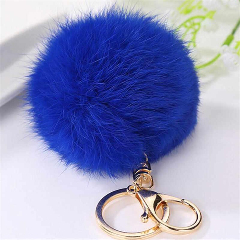 Llavero lindo Pom piel de conejo auténtico llavero de piel de imitación corazón encantador llavero de coche colgantes de bolso regalo para mujer