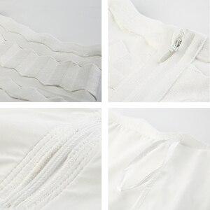Image 5 - Spódnica syrenka dla kobiet 2019 lato nowa seksowna z wiązaniami spódnice z wysokim stanem panie Celebrity Striped spódnica trzy czwarte czerwony czarny biały