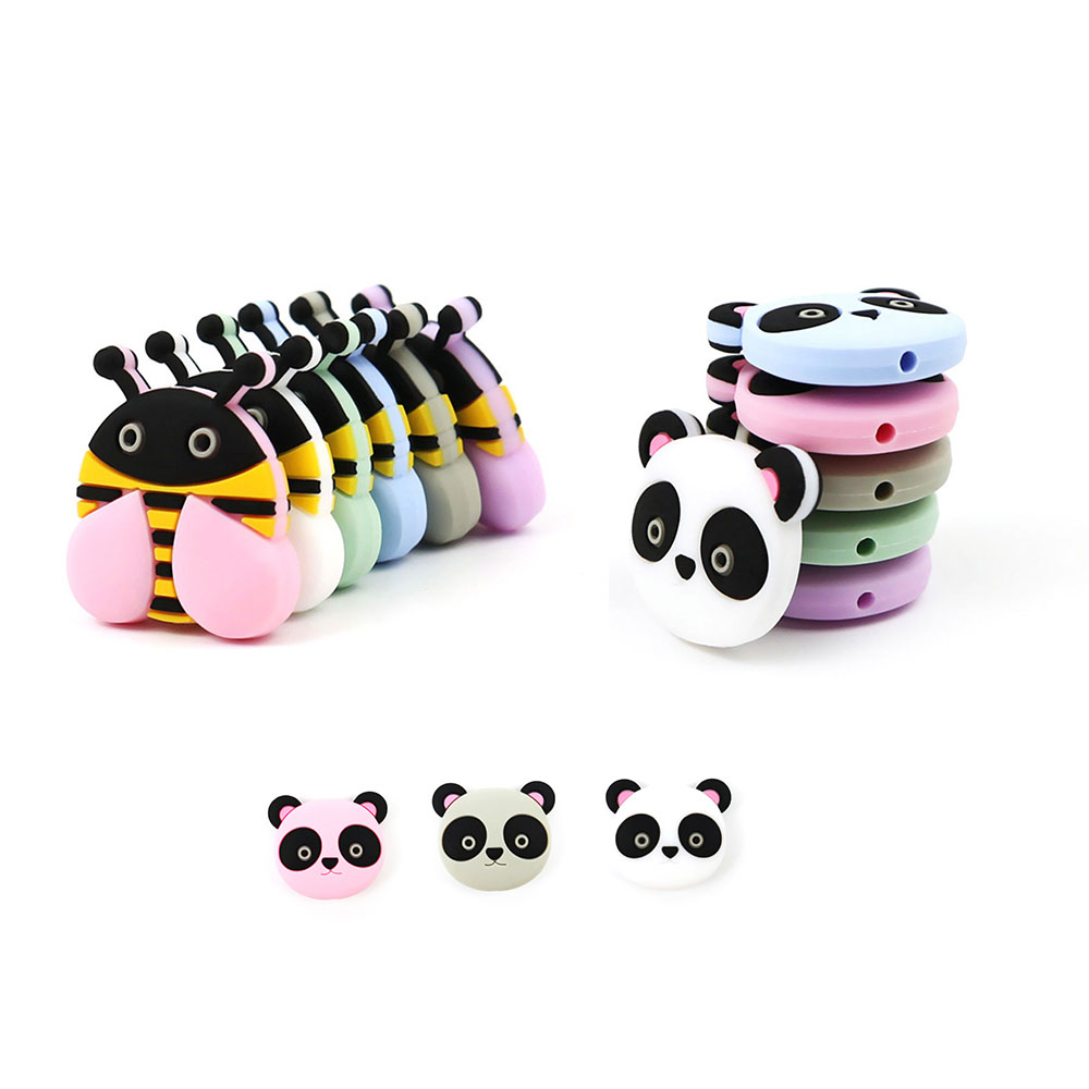 Humorous 50pcs Honey Bee Panda Silicone Beads Baby Teether Bead Animal Mordedor Silicona Baby Products Teething Necklace Baby Accessories