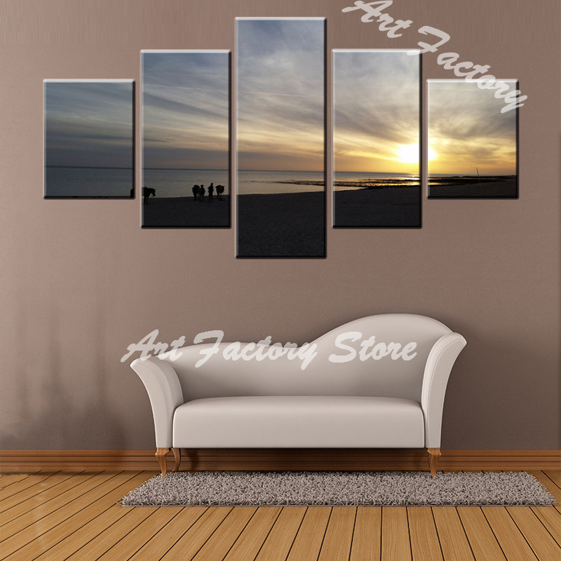 hot sales 5 panel canvas Paintings Print about the sunrise landscape On Canvas Wall Art Home decor craft gift