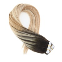Moresoo Tape In Human Hair Extensions Ombre and Balayage Color #2/27/613 Hair Extension Tape Adhesive 20PCS 50G