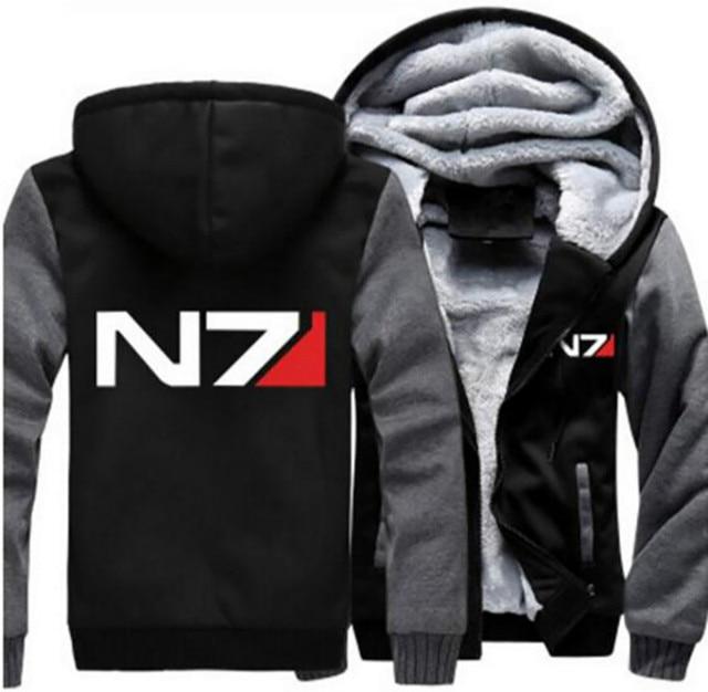 80c60f9e4 Dropshipping Mass Effect N7 Mens Hoodie Jacket Zipper Sweatshirt Winter  Warmth Fleece Thicken Hooded Jacket Coat