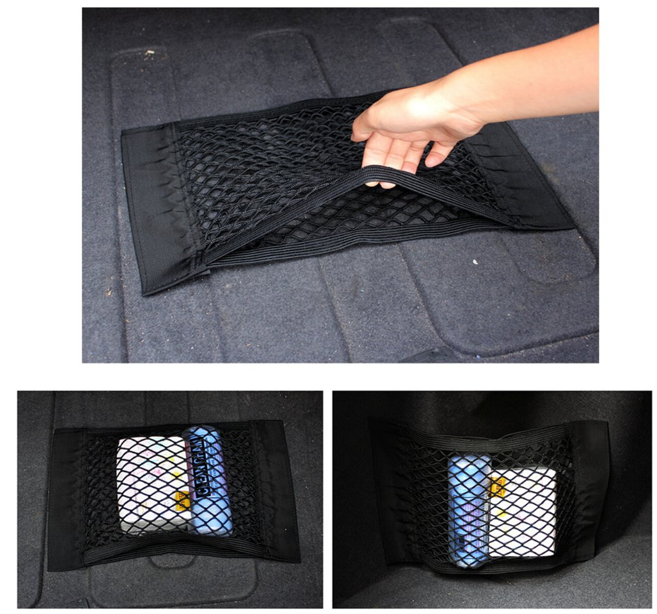 Car Trunk Box Storage Bag Mesh Net Bag Sticker For BMW F20 F21 F31 G31 F11 E61 E60 X1 F48 X2 F39 X3 G01 F25 E83 Accessories-in Car Stickers from Automobiles & Motorcycles