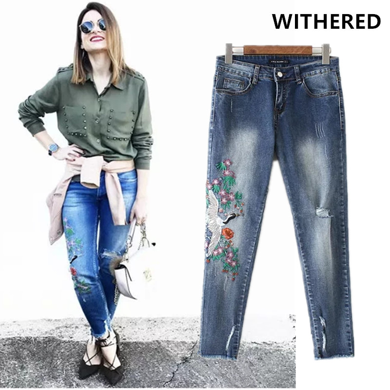 Withered New Red-crowned Crane Embroidery Jeans Woman High Stretch Skinny Jeans Ripped Jeans For Women Boyfriend Jeans For Women
