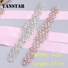 YANSTAR(30pcs) Wholesale Bridal Handmade Rhinestones Appliques For Wedding Dress Sash Rose Gold Clear Crystal Rhinestones