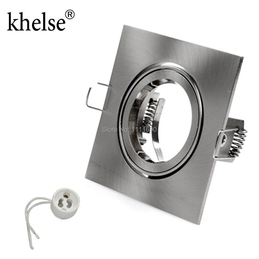 square Recessed metal chrome adjustable ceiling lamps holder GU10 socket or MR16 base LED spot and halogen built-in spot lights