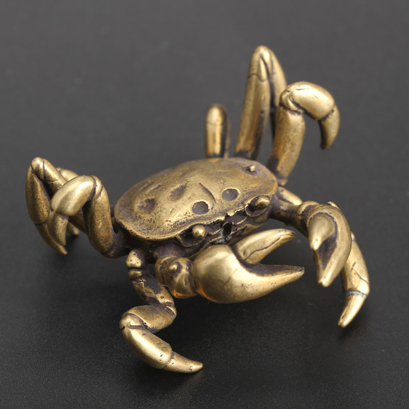 Creative Mini Cute Vintage Brass Crab Animal Statue Tea Cup Holder Sculpture Home Office Desk Decoration Ornament Hand Toy Gift