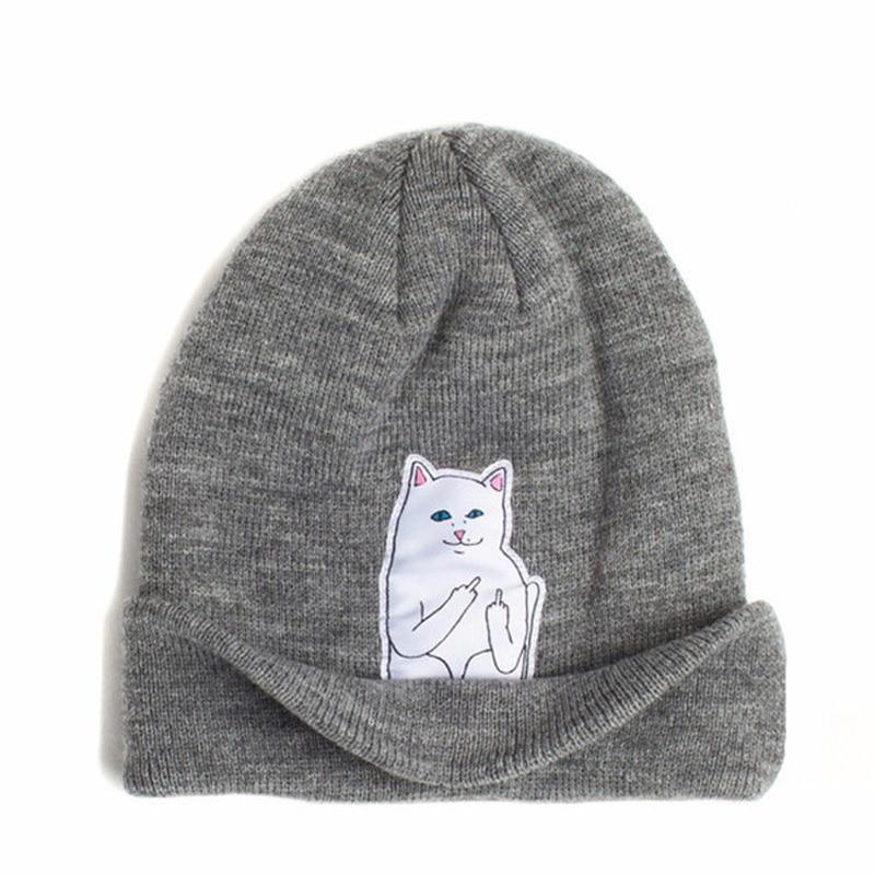 % new Winter Hat Wool Knitted Cartoon Cat Patch Skullies Beanies Middle Finger Fuck Designer Hat Female Gorros For Women Men skullies
