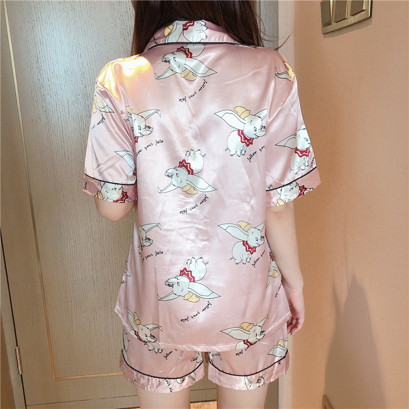 Caiyier Pink Cute Dumbo Print Silk Pajama Sets 2019 Summer Shorts Sleeve Sleepwear Sexy Ladies Lingerie Nightwear Homewear 5XL