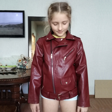 4-13 years old girls faux leather jacket pu coat Long Sleeve Zip Belt Locomotive Jacket 2 color hot versatile Europe and America letter pattern zip up faux leather jacket