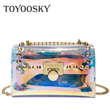 купить TOYOOSKY Women Summer Beach Bag PVC Clear Transparent Shoulder Bags Ladies Small Flap Bag Hologram Laser Rivet Handbags Brand по цене 1112.07 рублей