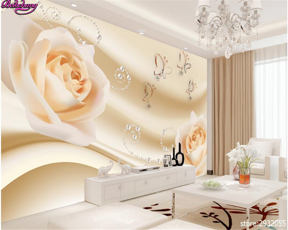 beibehang wallpaper for walls 3 d Fashion beautiful pale yellow flowers 3D Pearl TV background wall papel de parede wall paper beibehang ktv gold silver square papel de parede 3d wallpaper rolls tv background of wall paper 3d modern wallpaper for walls 3d