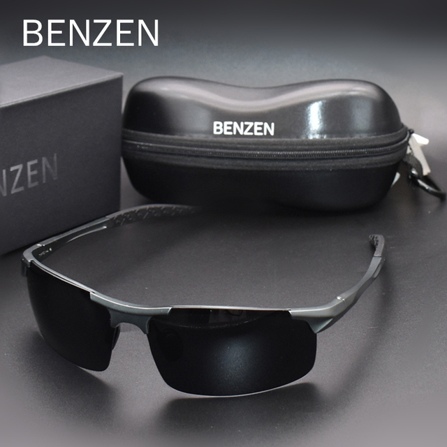 Benzen Gepolariseerde Zonnebril Voor Mannen Kwaliteit Al Mg Sport Zonnebril Mannelijke Uv Bescherming Outdoor Driver Glazen Goggles 9333