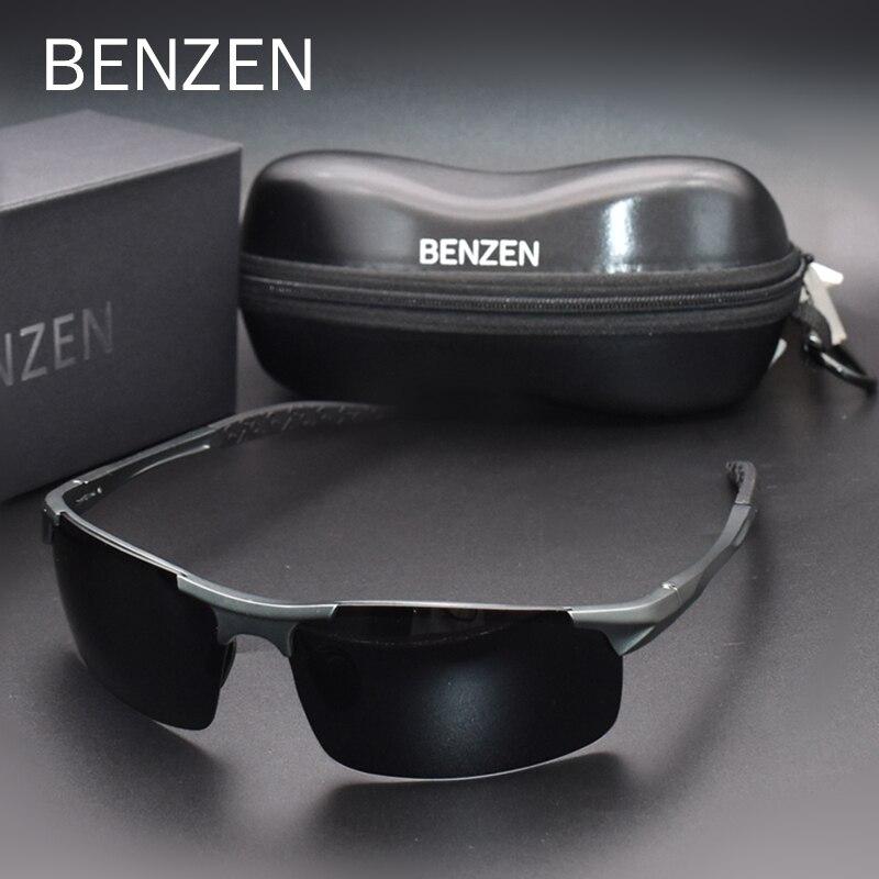 Gafas de sol polarizadas BENZEN para hombres de calidad Al-Mg gafas de sol deportivas protección UV masculina gafas de conducción Al aire libre 9333