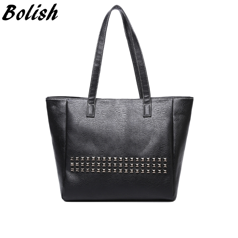 Bolish High Quality PU Leather Rivet Women Top-handle Bag Vintage Women Shoulder Bag Larger Female bag image