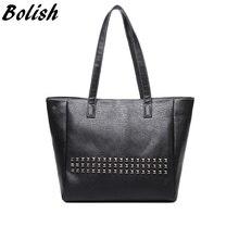 Bolish High Quality PU Leather Rivet Women Top-handle Bag Vintage Women Shoulder Bag Larger Female bag