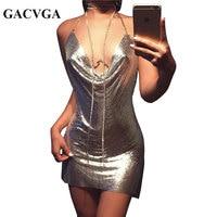 GACVGA 2018 Sexy Diamond Halter Metal Party Dresses Gold Silver Summer Dress Vesitos Backless Sequins Women Dress