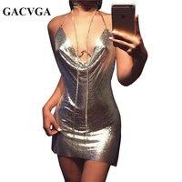 Gacvga 2017 sexy diamante halter vestidos de festa ouro prata do metal verão dress vesitos backless lantejoulas mulheres dress