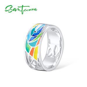Image 4 - SANTUZZA Silber Ring Für Frauen 925 Sterling Silber Gesicht Ringe für Frauen Shiny Weiß CZ Bunte Emaille Partei Mode Schmuck