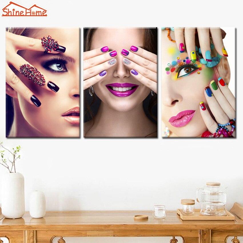 ShineHome 3pcs Canvas Printed Wall Painting Makeup Nail