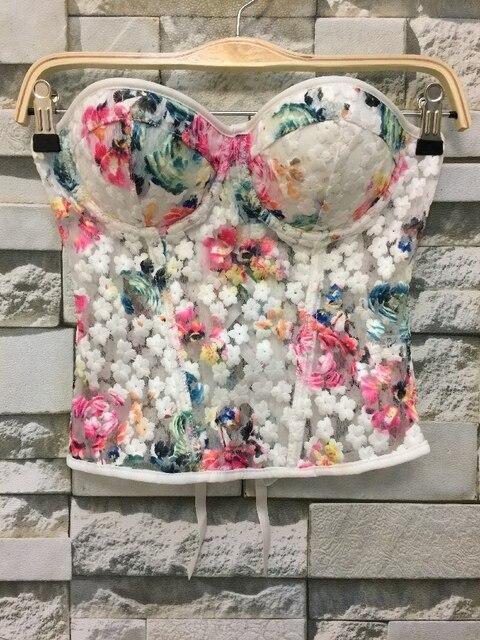 P216 Plus Size Bordados Rendas Floral Zipper Bandagem Empurrar Para Cima Longa das mulheres Bustier Bralet Bra Night Club Partido Colheita Colete topos