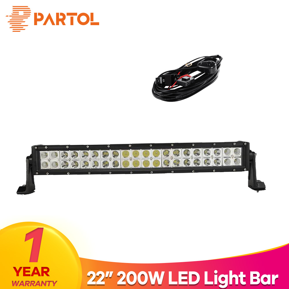 Partol 22 200W Dual Row Curved LED Light Bar Offroad Work Light Spot Flood Combo Beam 4X4 4WD LED Bar 12V for Jeep SUV Truck цена