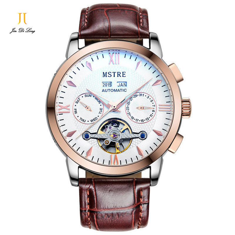 2*# Classic Fashion Business&Casual Watch Mens Auto Mechanical Wristwatches Leather Skeleton Tourbillon Calendar Waterproof2*# Classic Fashion Business&Casual Watch Mens Auto Mechanical Wristwatches Leather Skeleton Tourbillon Calendar Waterproof