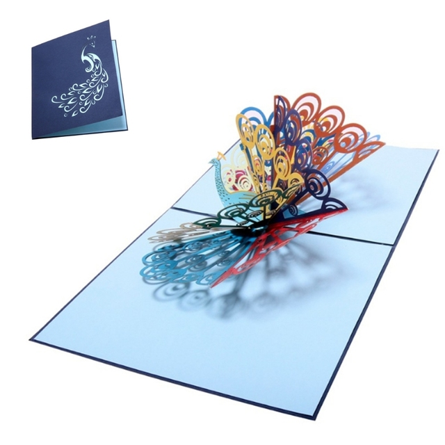 3D Handmade Pop Up Card Peacock Birthday Wedding Anniversary Greeting Cards Invitations Letter Christmas Thanksgiving M20