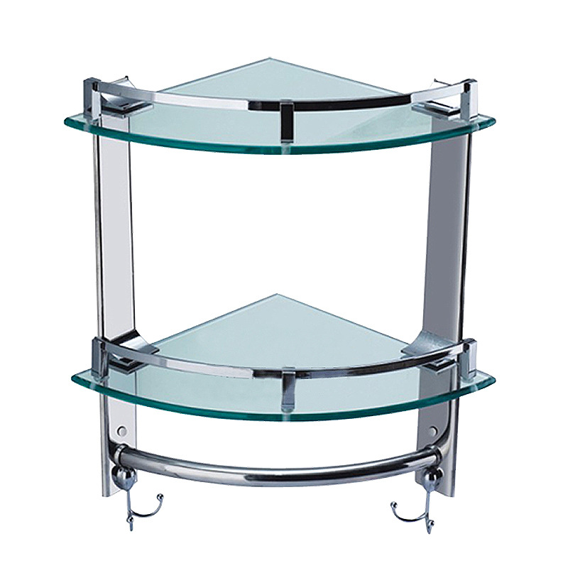 Stainless steel wall mounted corner basket,Bathroom double layer with hook glass shelf,storage rack,polished surface finishingStainless steel wall mounted corner basket,Bathroom double layer with hook glass shelf,storage rack,polished surface finishing