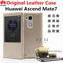 100% Official Original Mate 7 Window View Flip Leather Cover Case For Huawei Ascend Mate 7(China)